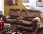 Portman POWER Reclining Console Loveseat in Two Tone Chocolate and Saddle Fabric by Catnapper - 61969