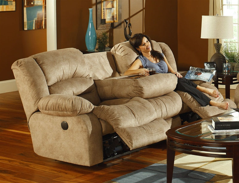 Summit Power Reclining Sofa With Burl Drop Down Table And Cupholders In  Buckwheat Color Fabric Upholstery By Catnapper   6265