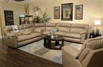 Carmine 3 Piece POWER Lay Flat Reclining Sectional in Timber, Pebble or Smoke Leather by Catnapper - 6415-SEC