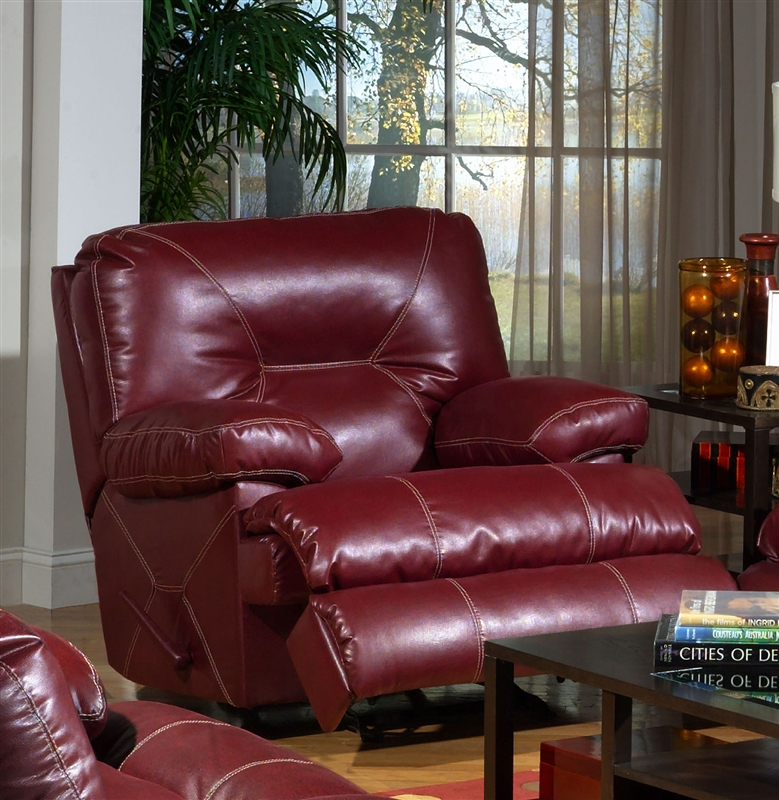Cortez Power Reclining Sofa In Red Leather By Catnapper
