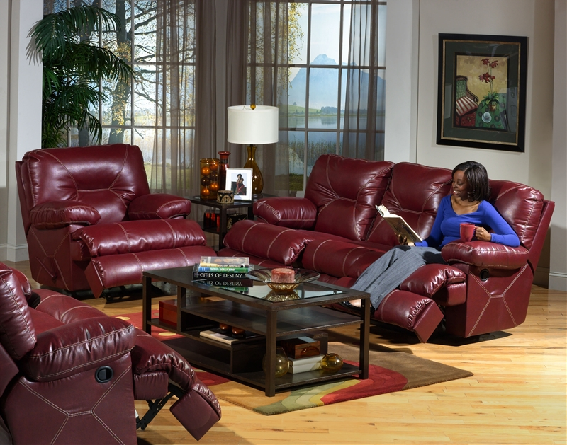 Cortez POWER Reclining Console Love Seat With Storage And Cupholders In  Dark Red Leather By Catnapper   64299 R