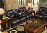 Mercury POWER Leather Lay Flat Reclining Sofa with Drop Down Table by Catnapper - 643345