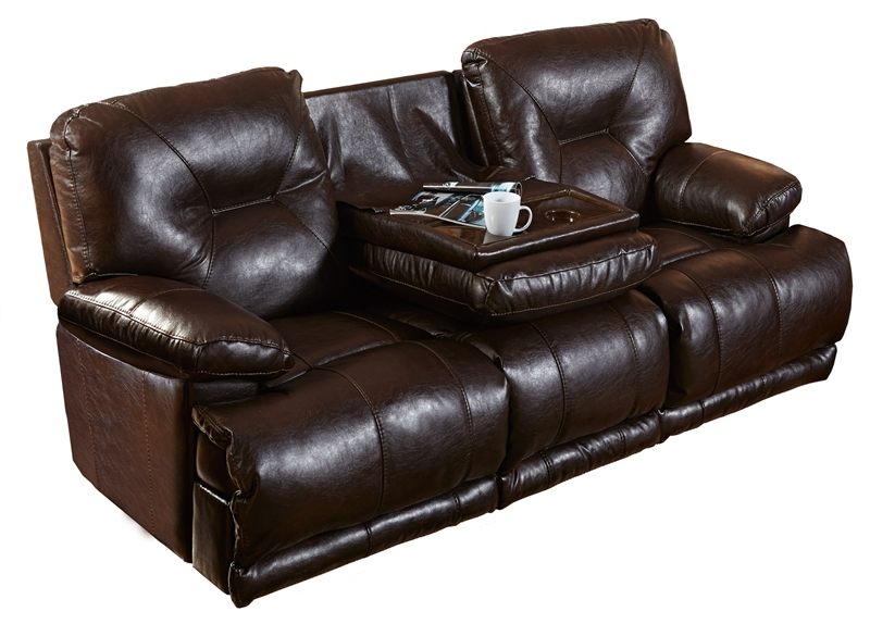 Mercury Power Leather Lay Flat Reclining Sofa With Drop