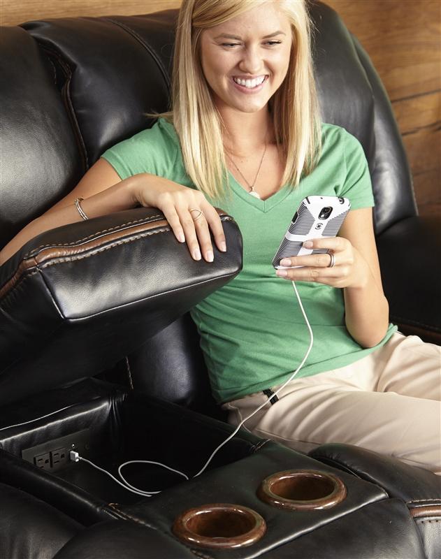Beckett 2 Piece Power Reclining Sofa Set In Black Color