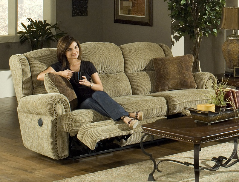 Baron Power Reclining Sofa In Sand Color Fabric By