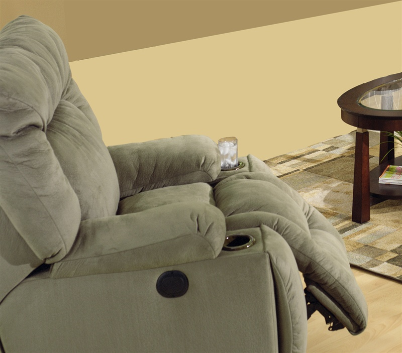 Jackpot power chaise recliner with cupholders in sage for Catnapper jackpot reclining chaise