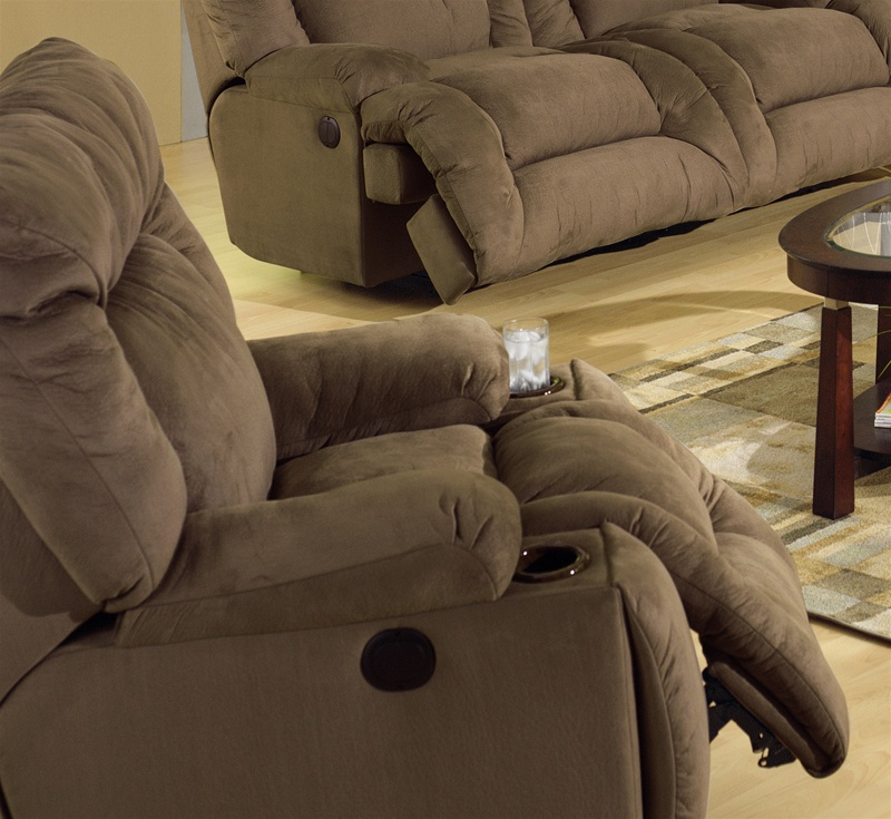 Jackpot Power Chaise Recliner with Cupholders in Coffee Microfiber Fabric by Catnapper - 6980-C : catnapper jackpot reclining chaise - Sectionals, Sofas & Couches