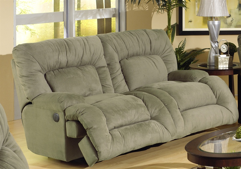 Gentil Jackpot Power Reclining Chaise Sofa In Sage Microfiber Fabric By Catnapper    6981