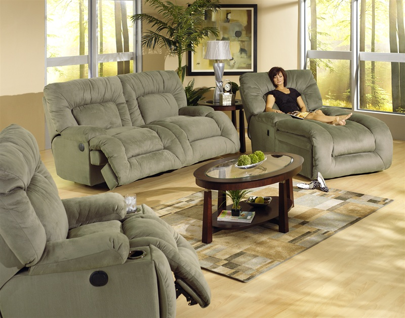 Jackpot Power Reclining Chaise Sofa In Sage Microfiber Fabric By Catnapper    6981