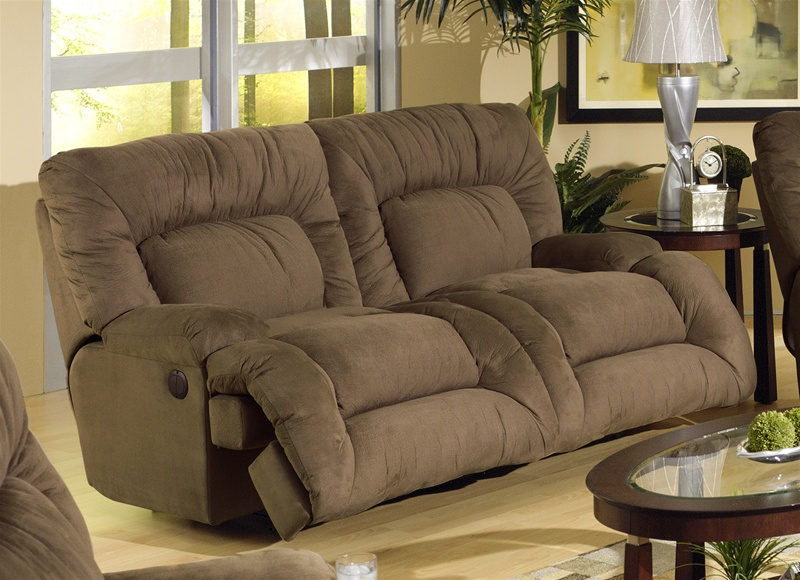 Jackpot power reclining chaise sofa in coffee microfiber for Catnapper reclining chaise