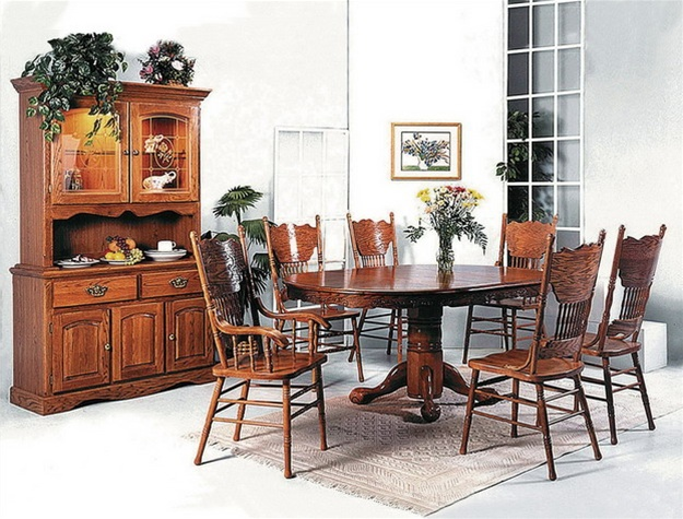 9 Piece Complete Dining Set BuffetHutch Included in Oak Finish by