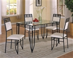Matrix 5 Piece Dining Set in Black Metal Finish by Crown Mark - 1116