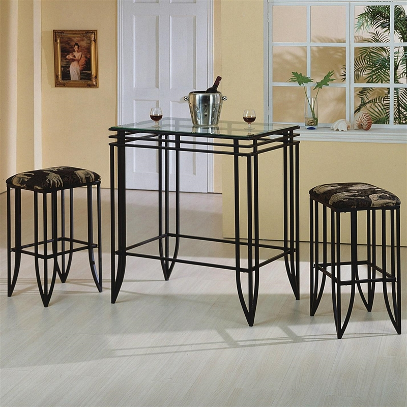 Bar Table Chairs Set Crown Mark Alyssa 3 Piece Bar Table: Matrix 3 Piece Bar Table Set In Black Finish By Crown Mark