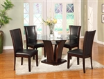 Camelia 5 Piece Round Table Dining Set in Espresso Finish by Crown Mark - 1210-RD-ESP
