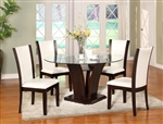 Camelia 5 Piece Round Table Dining Set in Espresso Finish by Crown Mark - 1210-RD-WH