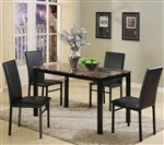 Aiden 5 Piece Dinette Black Metal and Faux Marble by Crown Mark - 1217