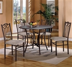 Hayes Wood and Metal 5 Piece Dining Set by Crown Mark - 1223
