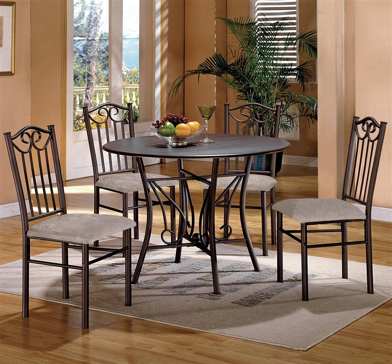 Crown Mark Neo Renaissance Double Pedestal Dining Table: Hayes Wood And Metal 5 Piece Dining Set By Crown Mark