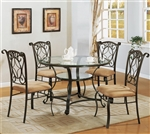Jessica 5 Piece Glass and Metal Dining Set by Crown Mark - 1843