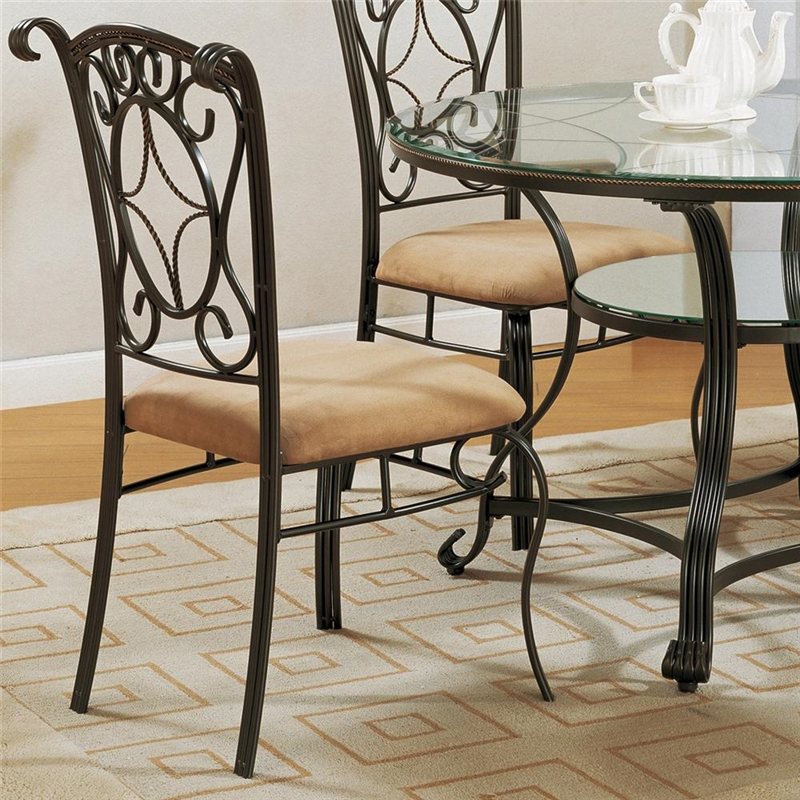 Crown Mark Neo Renaissance Double Pedestal Dining Table: Jessica 5 Piece Glass And Metal Dining Set By Crown Mark