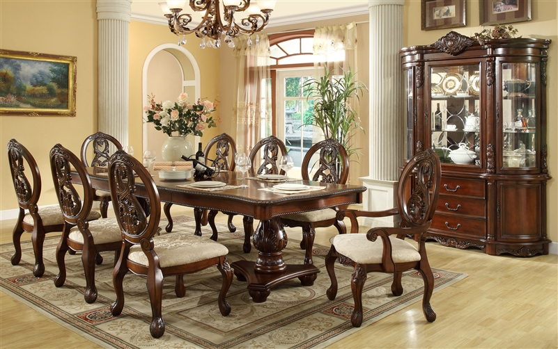 Julia 7 Piece Dining Set In Cherry Finish By Crown Mark 2011