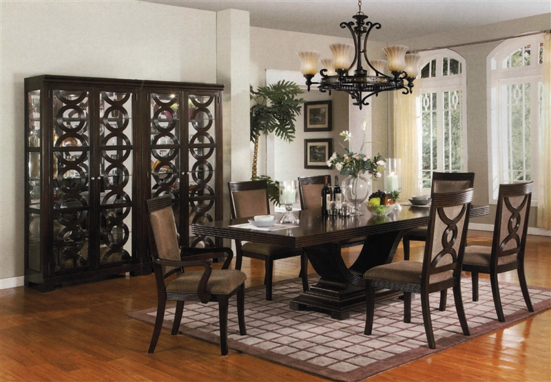 Complete Dining Set Curio Included in Espresso Finish by Crown ...
