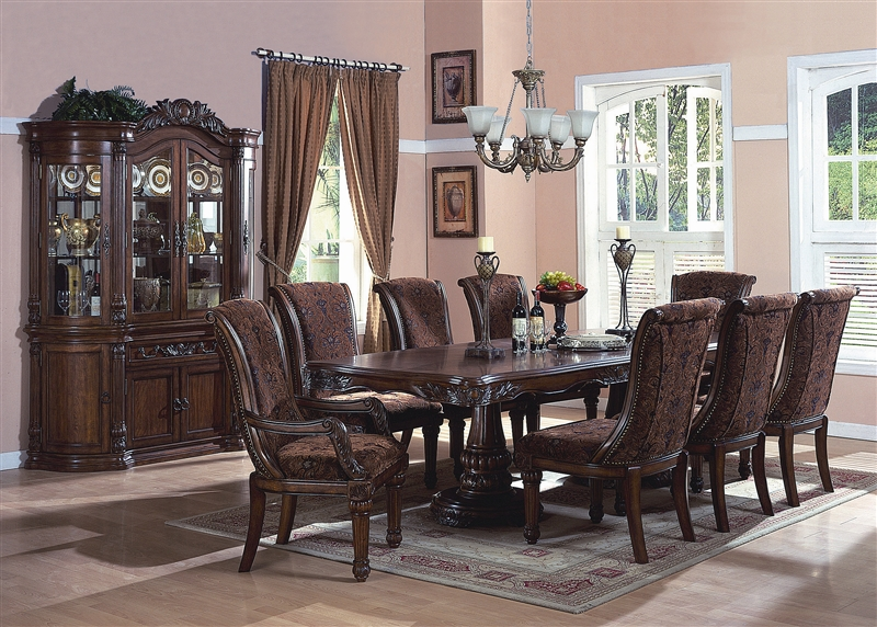 Estelle 9 Piece Dining Set in Cherry Finish by Crown Mark - 2120N
