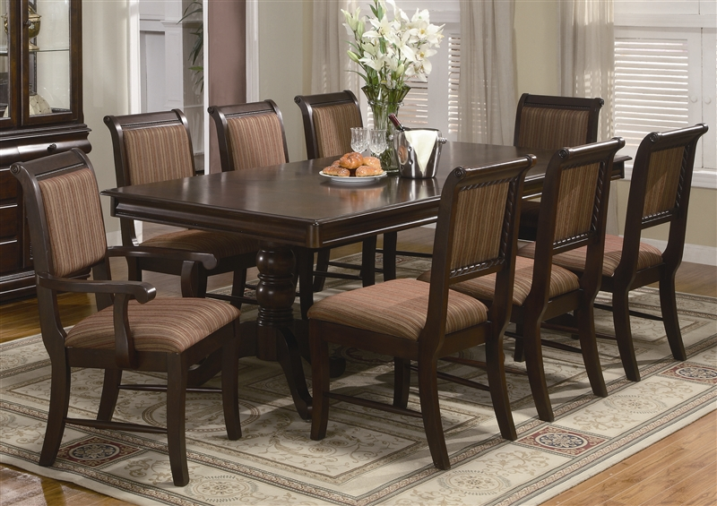Merlot 7 Piece Dining Set In Brown Cherry Finish By Crown