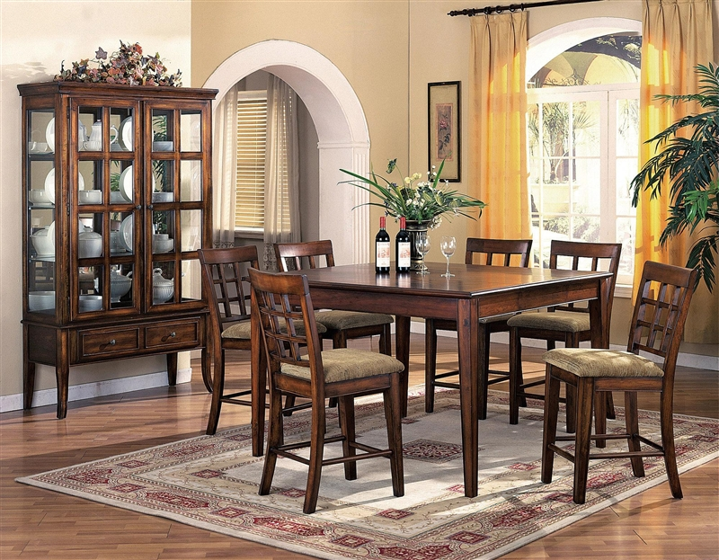 hawthorne 7 piece counter height dining set in brown cherry finish by crown mark