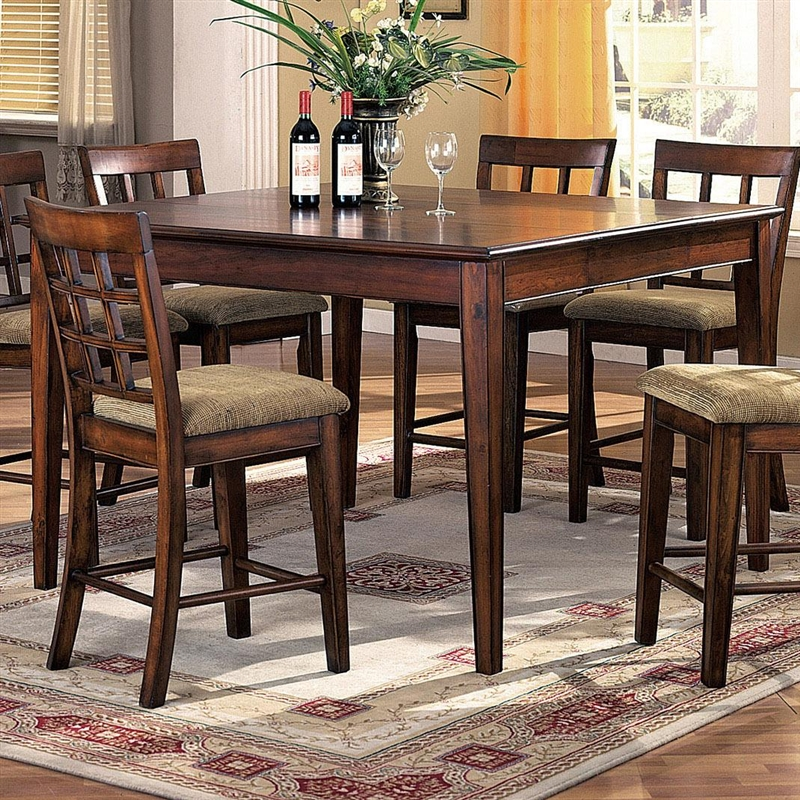 hawthorne 7 piece counter height dining set in brown cherry finish