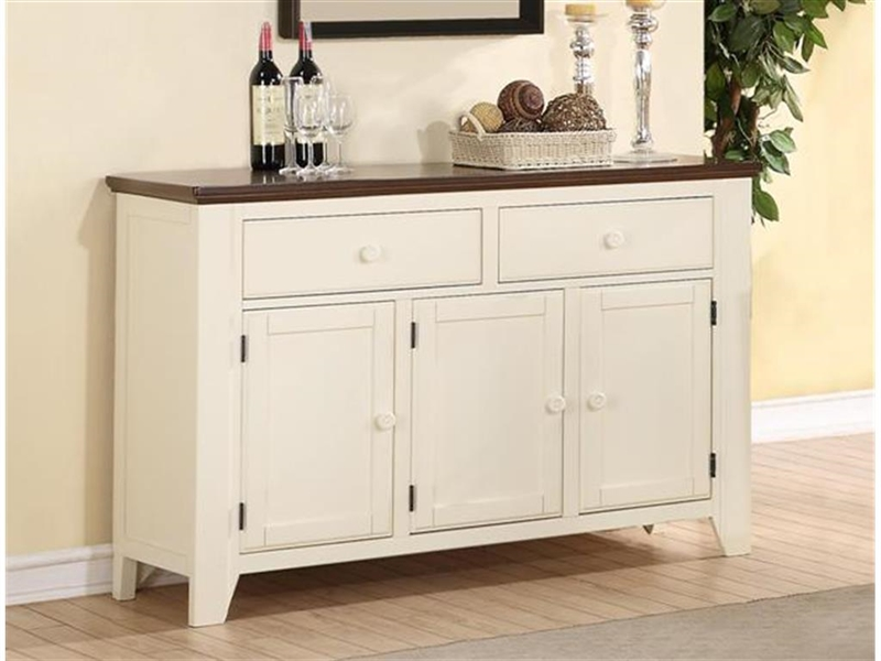 ramona sideboard in antique white and walnut two tone finish by crown mark 2238sb