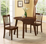 Liam 3 Piece Dining Set in Warm Brown Finish by Crown Mark - 2258