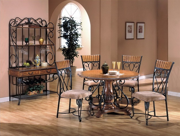 Alyssa Piece Oak And Metal Complete Dining With Bakers Rack By - Alyssa dining room set