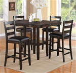 Tahoe 5 Piece Counter Height Dining Set in Brown Finish by Crown Mark - 2630