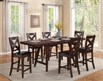 Sierra 5 Piece Counter Height Dining Set in Warm Brown Finish by Crown Mark - 2703