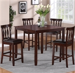 Soledad 5 Piece Counter Height Dining Set in Cherry Finish by Crown Mark - 2707