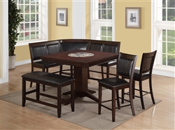 Harrison 4 Piece Corner Counter Height Dining Set In Warm Brown Finish By  Crown Mark   2726 4