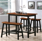 Tyler 4 Piece Counter Height Dining Set in Black and Brown Two Tone Finish by Crown Mark - 2729