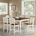 Ramona 5 Piece Counter Height Dining Set in Antique White and Walnut Two Tone Finish by Crown Mark - 2738