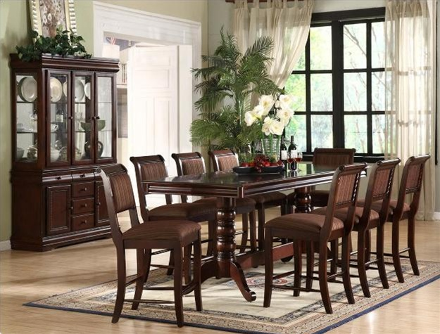 Merlot 7 Piece Counter Height Dining Set In Deep Brown Cherry Finish By  Crown Mark   2746