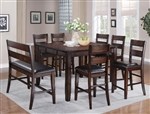 Maldives 5 Piece Counter Height Dining Set in Warm Brown Finish by Crown Mark - 2760-5