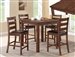 Quinn Plank Table Top 5 Piece Counter Height Dining Set in Cognac Finish by Crown Mark - 2764