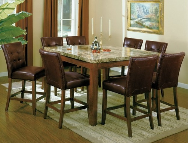 Samuel 9 Piece Counter Height Dining Set In Walnut Finish By Crown Mark    2766 9
