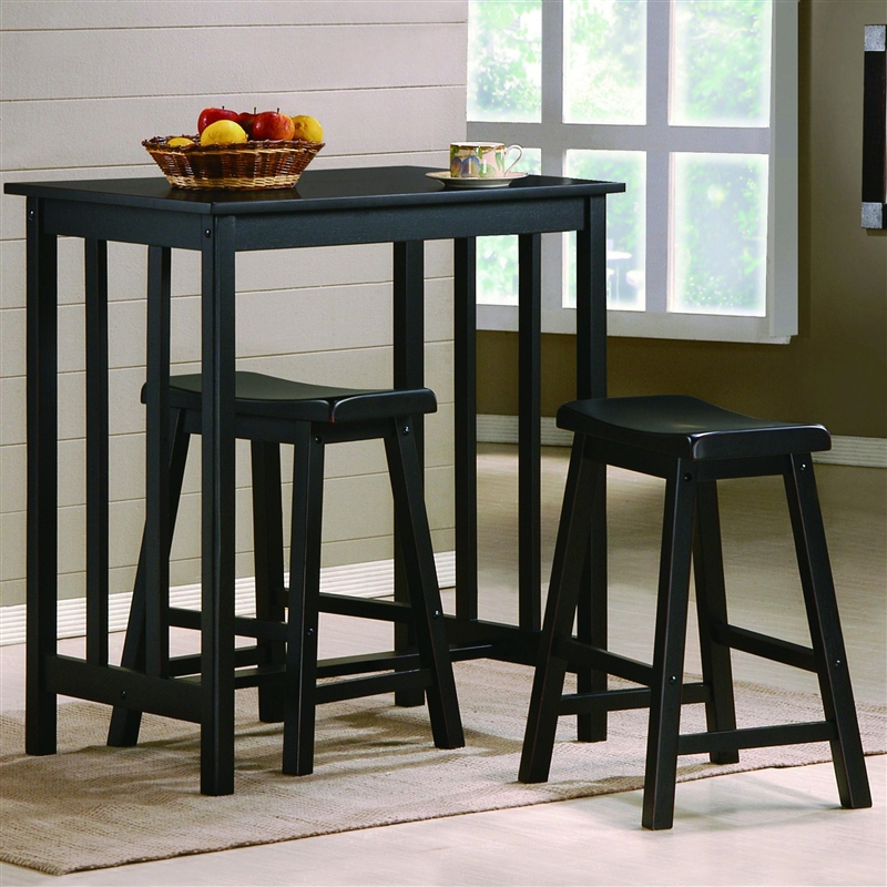 Dina 3 Piece Counter Height Dining Set In Black Finish By