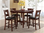 Isaac 5 Piece Counter Height Dinette in Dark Cherry Finish by Crown Mark - 2783