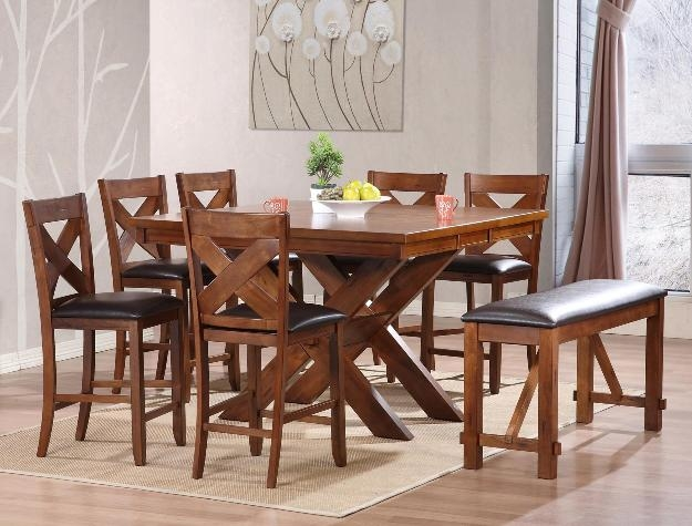 Havana 6 Piece Counter Height Dining Set In Acacia Finish By Crown Mark    2835