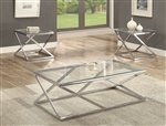 Chase 3 Piece Occasional Table Set in Silver Finish by Crown Mark - CM-3272