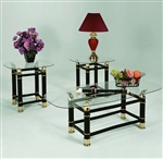 Horn 3 Piece Occasional Table Set in Black Finish by Crown Mark - CM-3606