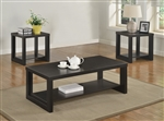 Audra 3 Piece Occasional Table Set in Black Finish by Crown Mark - CM-4121