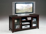 "Jeffery 60"" TV Console with Narrow Reed Glass Front Doors in Cappuccino Finish by Crown Mark - 4821"